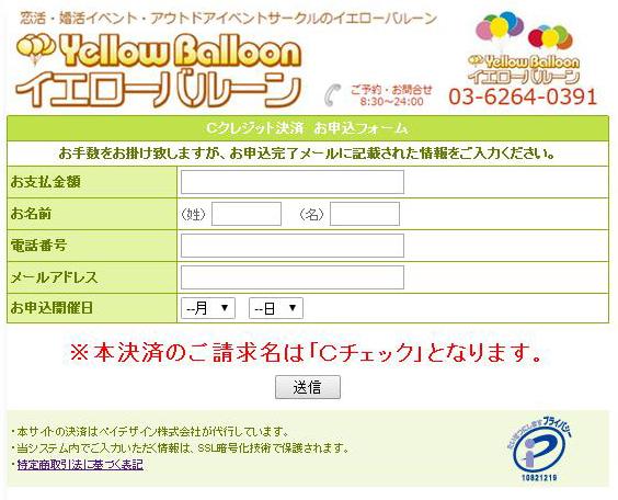 クレジット決済サイト画面